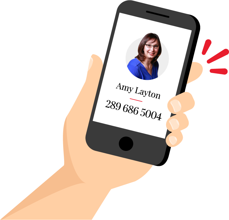 A hand holding a phone with a graphic of amy layton calling